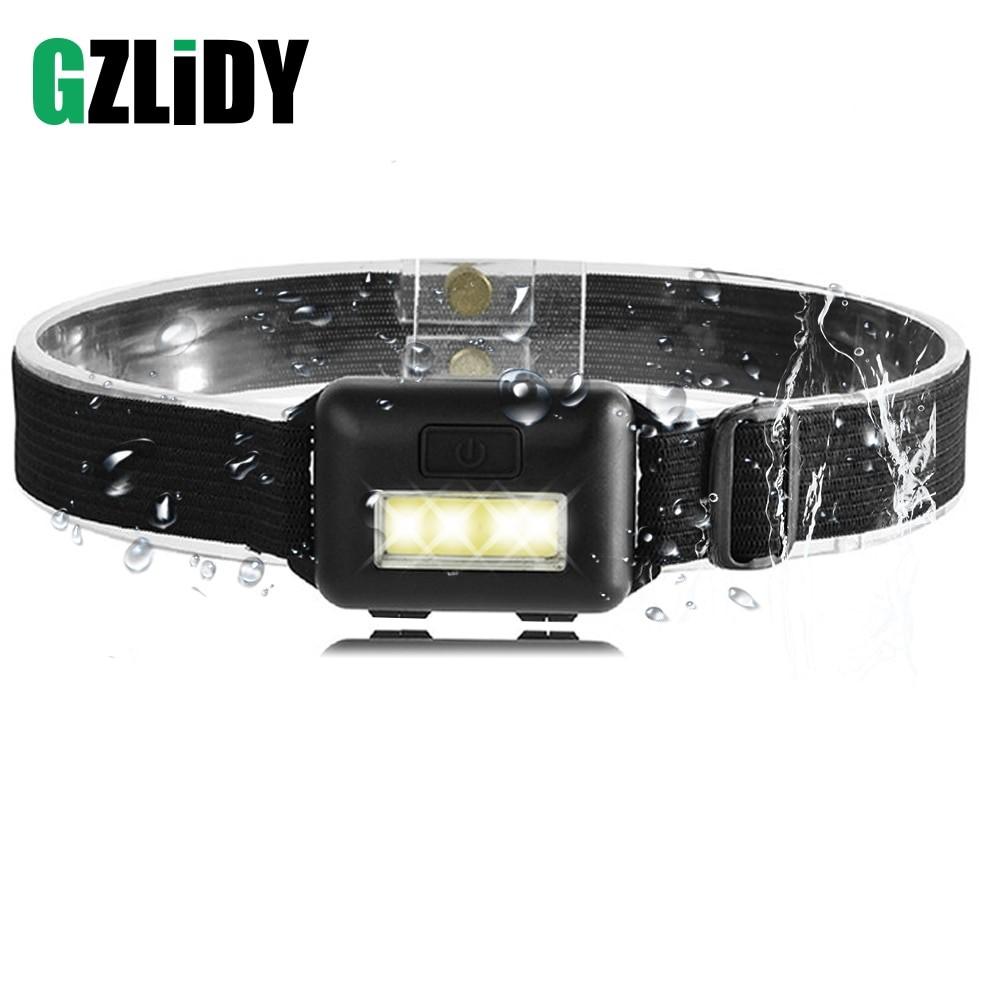 Linterna frontal COB resistente al agua GZliDY